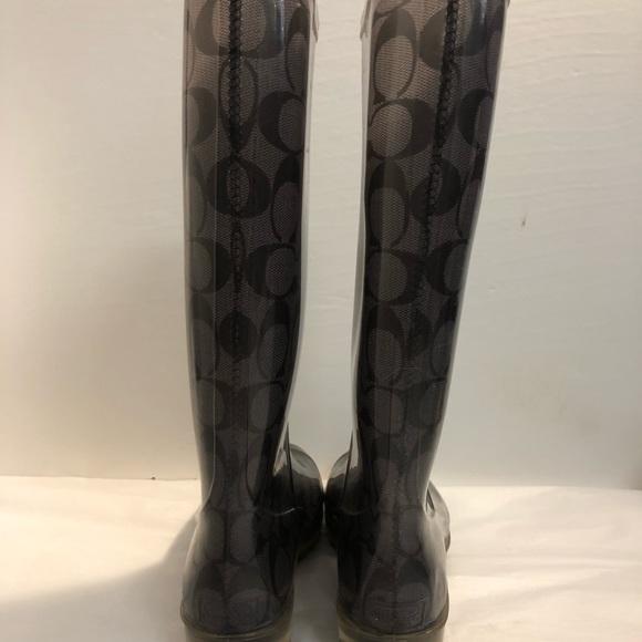 7bf9a60ca4462 COACH Gray/Black Rubber Monogram Rain Boots